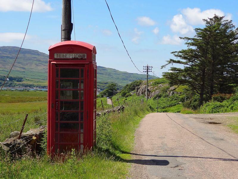 Schottland, Isle of Mull, Telefonzelle